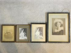 Four 19th century framed and glazed prints, noblewomen, one from the gallery of Florence and one