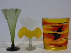 An Art Glass spill vase a similar flower vase and a vintage design vase with geese silhouetted at