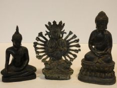Three Eastern bronze seated figures, two Buddhas and the Cundi Bodhisattva. H.23cm (tallest).