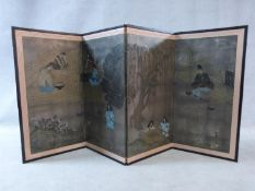 A Meiji period Japanese hand painted three fold screen with gilded background and temple scene, with