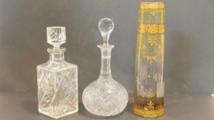 A C.1900 Bohemian fading colour gradient glass vase with gilt floral decoration, a 19th century