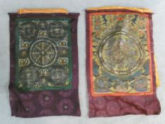 Two Indian mandalas hand painted on canvas laid on silk. 100x64cm