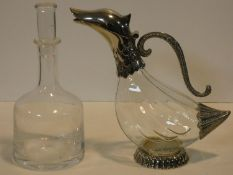 A vintage Silea silver plated duck form claret jug along with a vintage Frank Thrower Dartington