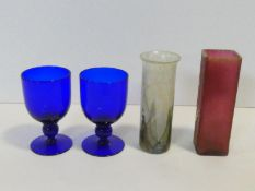 A pair of hand blown Bristol blue glass goblets, a lustre Isle of Wight Art Glass vase and Daum