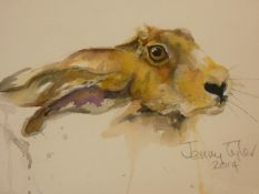 A framed and glazed watercolour portrait of a hare by watercolour portraitist and wire work sculptor