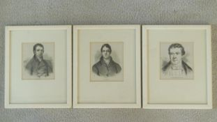 A set of three framed and glazed engravings of 19th century British politicians. 27x22cm