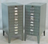 A pair of metal A4 documents filing cabinets. H.74 W.31 D.46cm