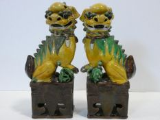 A pair of Chinese ceramic sancai glazed Dogs of Fo in green, ochre and brown glaze. H.35cm (damage