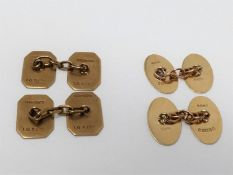 Two pairs of vintage chain link 9ct gold cufflinks. One pair with hexagonal shape, hallmarked: IGS