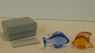 Two Lalique frosted glass figures of marine fish, boxed and with Lalique paper and signed to base,