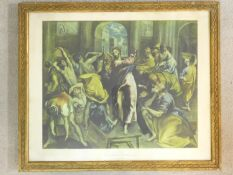 A gilt framed and glazed print of El Greco's Christ driving the Traders from the Temple. 80x67cm
