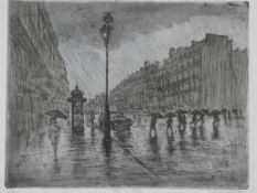 A framed and glazed limited edition etching, a Parisian street with figures in the rain, titled '