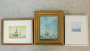 A gilt framed oil on board, fighting galleons and two framed and glazed watercolours, sailing ships.