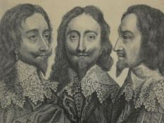 After Van Dyck, King Charles in Three Positions, a 19th century framed engraving 27x19cm