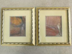 A pair of framed and glazed abstract pastel studies, unsigned. 42x37cm