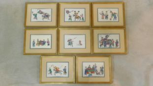 A set of eight C.1900 framed and glazed Chinese paintings on rice paper, courtly figures in