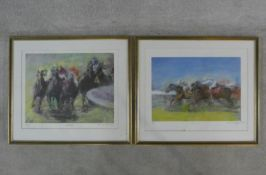 A pair of framed and glazed limited edition prints by Constance Halford-Thompson, 2/25 All Out and