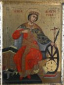 A certified copy of a Byzantine painted icon of Saint Catherine on panel with gilded detailing. H.