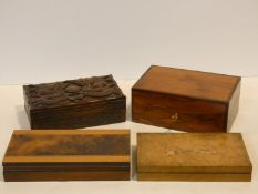 A miscellaneous collection of four boxes, to include a Continental sycamore box inlaid with putti in