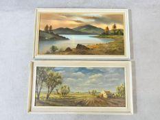A pair of framed oils on board, landscapes, signed John Stuart. 55x108cm