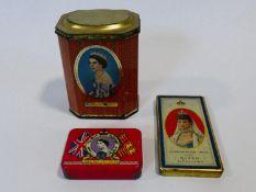 A Christmas 1902 Queen Alexandra Rowntree & Co chocolate tin a 1953 Oxo Coronation tin and a