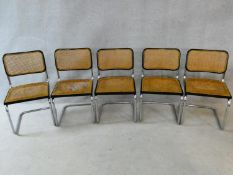 After Marcel Breuer, a pair of Cesca B32 chairs and a further set of three similar on cantilever