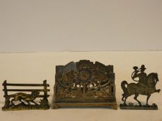 A collection of antique metal work items. Including an antique cast flat pewter model of a German