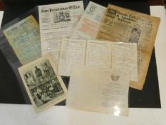 A collection of antique and vintage ephemera. Including two insurance certificates one from Sun