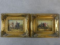 A pair of giltwood framed oils on board, warriors on horse, by R. Wilson. 31x26cm