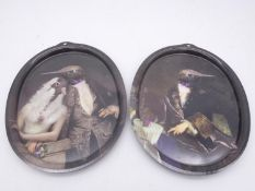 A pair of oval Ibride acrylic trays featuring hummingbirds in 19th century formal dress, one with