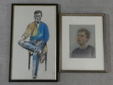 A framed and glazed pastel head and shoulders study and a similar of a seated figure. H.64xW.39cm