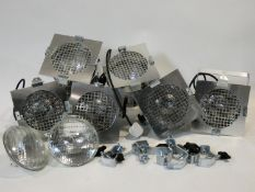 Six vintage style chrome cased spotlights along with other bulbs and fixings. H.23 W.20 D.20cm