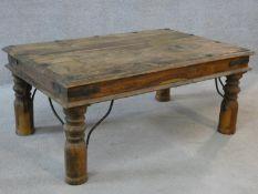 An Indian metal bound teak low table. H.42xW.91xL.61cm