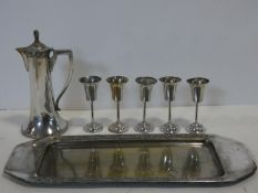 A Silver plated Czech design claret jug, wine glasses and matching tray by Frantisek Bibus. All