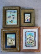 Four various Persian miniature paintings in khatam marquetry frames, one on ivory, polo games and