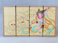 A floor standing Japanese Meiji period hand painted four panel screen. One side with a crane on a