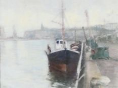 Yves Diey (1892-1984) a framed and glazed pastel, a ship in dock within a harbour scene, signed.