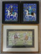 A pair of antique Qajar Persian hand painted and polychrome glazed ceramic tiles and a framed Indo