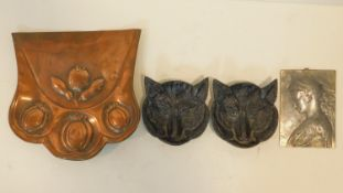 A collection of antique metalwork items. Including an Arts and crafts copper crumb pan with floral