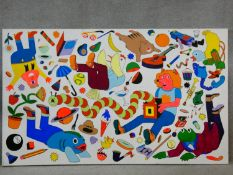 A large unframed oil on canvas, surreal cartoon characters, figures and forms, unsigned. 91x152cm