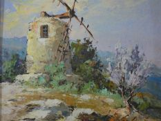 A 20th century oil on board, windmill, indistinctly signed. 36x31cm