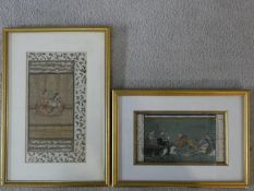 Two framed and glazed Indian watercolours on silk, a courting couple and a hunting scene. 38x26cm