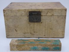 A Chinese lacquered travelling trunk with twin iron carrying handles and a Chinese box with