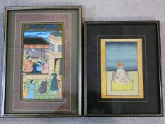 Two framed and glazed 20th century Indian Persian paintings on parchment, one of a seated figure