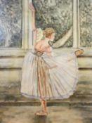 A oil on board of a ballet dancer after Degas 'Dancer at the Bar' 60x90cm
