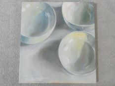 Dennis Spicer (B.1953) an oil on canvas, still life, label to reverse, Three Bowls. H.61xW.56cm