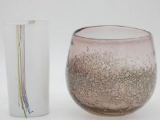 A signed white glass Kosta Boda vase with coloured cane glass decoration, along with another