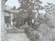 A framed and glazed signed etching by artist E.S. (Liz) Elmhirst, titled 'Tuscan Village. 6/50. H.