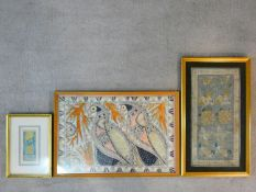 A framed and glazed Madhubani watercolour and ink painting from the Mithila region of Bihar and