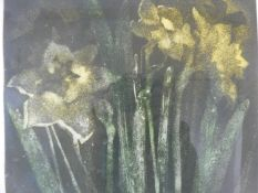 Annette Lewin, signed etching, daffodils, framed and glazed. H.65xW.59cm